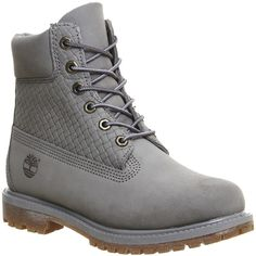 Timberland Premium 6 Boots ($230) ❤ liked on Polyvore featuring shoes, boots, ankle boots, grey nubuck emboss, women, lace up bootie, water proof boots, waterproof ankle boots, short grey boots and laced ankle boots