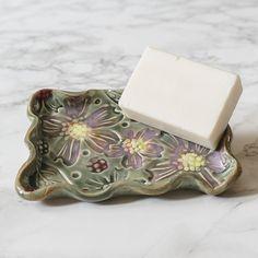 Handmade Dogwood Soap Dish   North Carolina Pottery