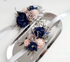 Beautiful wedding floral wrist corsage in blue navy, blush and gray color. Send me your color theme or ideas and I will give you some suggestions. Blue Corsage, Prom Corsage And Boutonniere, Bridesmaid Corsage, Navy Bridesmaids, Flower Corsage, Boutonnieres, Prom Flowers, Fall Wedding Flowers, Wedding Colors