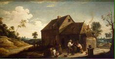 Teniers landscape with peasants before an inn