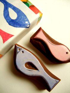 a set of 2 mini birds - hand carved rubber stamp set -