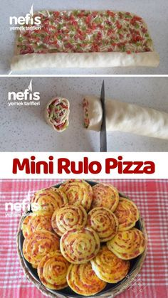 kişinin defterindeki Mini Rulo P. kişinin defterindeki Mini Rulo Pizza Tarifi'nin r - Mini Pizzas, Pizza Recipes, Healthy Dinner Recipes, Healthy Snacks, Delicious Recipes, Mini Rolls, Vegan Scones, Brunch, Snacks Saludables