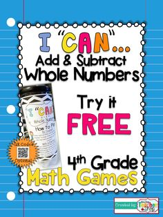 """FREEBIE!!! This """"I CAN"""" Math game covers all standards for ADDING in 4th grade. Perfect for Guided Math & Test Prep! {Common Core}"""