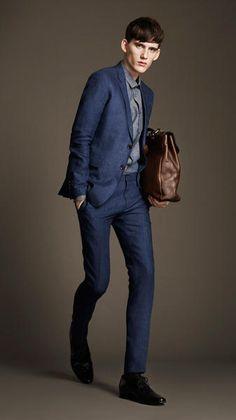 Burberry Slim Fit Hemp Suit in Blue for Men (bright indigo) - Lyst