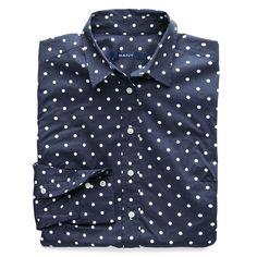 GANT - Cotton Poplin Stretch Dot Skjorta Classic Blue
