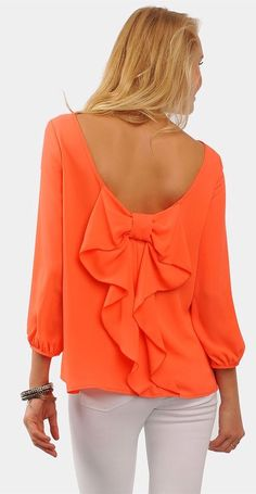 Coral Back Bow Blouse <3