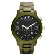 7e59b41489d Relógio Armani Exchange AX1154 Men s Military Green Aluminum Bracelet Black  Dial Chronograph Watch  Relogios