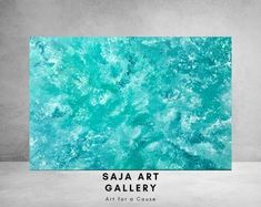 Large Abstract Teal Painting Original Acrylic Painting on Blue Living Room Decor, Acrylic Painting Canvas, Watercolor Paintings, Marble Art, Wall Decor, Wall Art, Interior Photo, Unique Colors