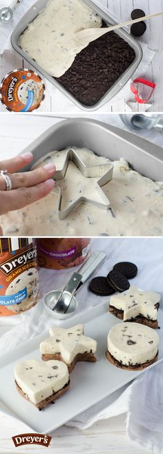 Dreyer's Mini Ice Cream Cakes: The best part about these delicious mini ice cream cakes? Everybody gets their own! The second best part? They're easy to make! Just spread a layer of Chocolate ice cream in a small pan and top with crumbled cookies and a layer of Chocolate chip ice cream, re-freeze, and use fun-shaped cookie cutters to dish out individual cakes!