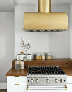 Brass kitchen range hood