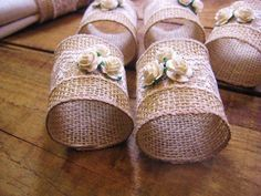 RESERVED FOR LESLIE 2 Burlap Napkin Rings Burlap/Lace