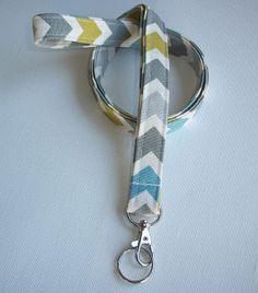 Lanyard  ID Badge Holder - summerland Chevron zig zag - Lobster clasp and key ring