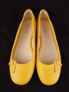 Prada yellow leather ballet flats
