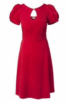 Red Juliet Couture - 40s Sylvia keyhole pearl A line dress vintage red