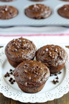 These skinny double chocolate muffins are lightened up using Greek yogurt and less sugar!