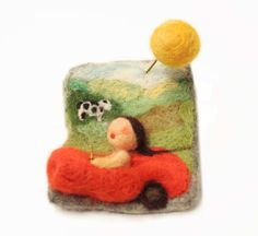 felted brooch  handmade  vacation on country side  by vilnone