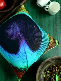 Buy Ambbi Collections Enlarged Peacock Print Cushion Online, , LimeRoad