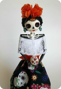 Day of the Dead themed Paper Mache Catrina. by LaCasaRoja on Etsy, $33.00
