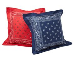 BANDANA PILLOWS Paisley UncommonGoods Throw AllAmerican Cowboy Kerchief UncommonGoods Great idea for a quickneasy pillow Even I could sew this Bandana Quilt, Bandana Curtains, Fourth Of July Decor, 4th Of July Decorations, July 4th, Western Crafts, Western Decor, Country Decor, Country Style