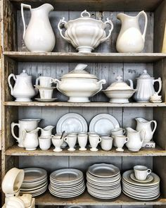Willows Farm, Antique Booth Ideas, Dish Storage, Beautiful Color Combinations, Antique Shops, China Cabinet, Color Inspiration, Farmhouse Style, Shabby