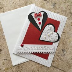 Handmade Congratulations Card by CardsByYvonne on Etsy Homemade Wedding Cards, Wedding Cards Handmade, Greeting Cards Handmade, Homemade Cards, Paper Quilling Flowers, Bookmark Craft, Fancy Fold Cards, Cricut Cards, Congratulations Card