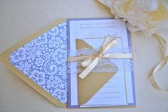 Romantic Lace and Purple Wedding Invitation by OuttheBoxCreative