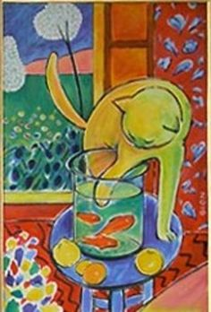"""Le chat aux poissons rouges"" - the cat with goldfish 