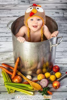 Thanksgiving Baby Photo. Autumn, Halloween, pot and Turkey hat, props, vegetables.  Mama's little turkey.