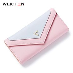 $16.17 - Nice WEICHEN  New Geometric Envelope Clutch Wallet For Women, PU Leather Hasp Fashion Design Wallet For Phone Money Bags Coin Purse - Buy it Now!