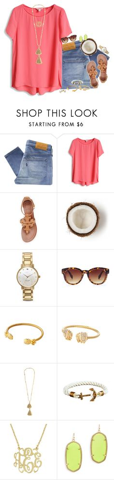 """tropical vibes!"" by smbprep ❤ liked on Polyvore featuring Levi's Made & Crafted, Tory Burch, Kate Spade, Forever 21, Isabel Marant and Kendra Scott"