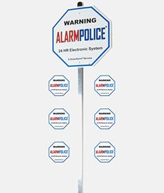 1 NEW HOME SECURITY ALARM SYSTEM 1125 YARD SIGN 3M Reflection Law Enforcement Sign w Stake and Window Decals  36 Aluminum Stake Post  6 Decals stickers -- Details can be found by clicking on the image.