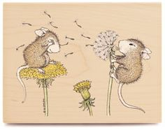 Blowing Dandelions - House Mouse Rubber Stamps