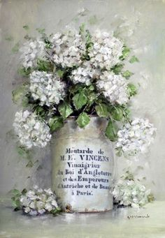 Ready to Hang Print - French Mustard Pot with Hydrangeas - POSTAGE included Australia wide