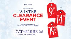 Winter Clearance Event! Clearance Savings Up to 65% Off Original Prices.   Store : #Catherines Scope: Entire Store  Ends On : 01/28/2017    Get more deals: http://www.geoqpons.com/Catherines-coupon-codes  Get our Android mobile App: https://play.google.com/store/apps/details?id=com.mm.views    Get our iOS mobile App: https://itunes.apple.com/us/app/geoqpons-local-coupons-discounts/id397729759?mt=8