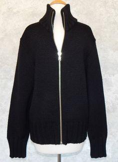 D&G DOLCE & GABBANA Men's Black Zip Front Cardigan Sweater Chunky Thick  Sz. XXL #DG #Cardigan
