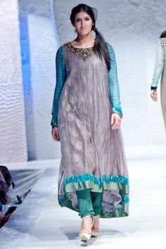 pakistani dresses online in usa | Sea Green/Blue/Light Gray Crinkle Party Dress