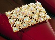 Awesome Shoe Clips Goldtone  with Aurora Borealis by PendragonFarm, $22.00