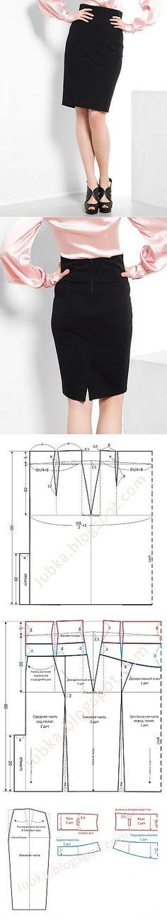 Модные Юбки. Шьем сами.: Юбка карандаш с высоким поясом