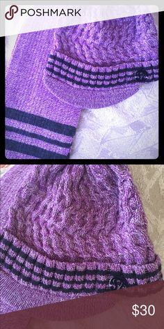 Lululemon hat and scarf NWOT. Cute beanie hat with brim and matching scarf. Purple in color. lululemon athletica Accessories Hats