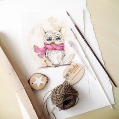 Процесс)  #watercolour#watercolor#aquarelle#art#artist#artwork#work#artgallery#art_help#topcreator#art_we_inspire#illustration#owl#draw#drawing#paint#painting#winter#misha_illustration#акварель#совенок#иллюстрация by katerina_mihailina_07