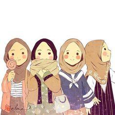 Dis resembles meh and meh fwends! Best Friend Drawings, Bff Drawings, Girl Cartoon, Cartoon Art, Hijab Drawing, Islamic Cartoon, Hijab Cartoon, Family Illustration, Cute Cartoon Wallpapers