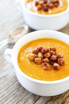 Slow Cooker Butternut Squash Soup with Maple Roasted Chickpeas Recipe on twopeasandtheirpod.com Love this simple and healthy soup!