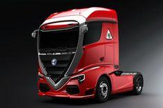 "Check out new work on my portfolio: ""Alfa romeo Truck concept car"" be. Big Rig Trucks, Cool Trucks, Porsche, Audi, Automobile, Fiat Abarth, Alfa Romeo Cars, Truck Design, Citroen Ds"
