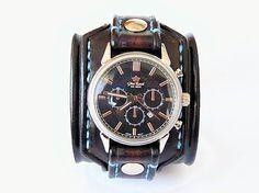 leon / Hnedočierny kožený remienok s hodinkami Gino Rossi