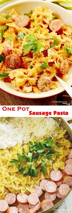 One Pot Sausage Pasta - A complete dish with an extraordinary taste, made using everyday ingredients. Ready in less than 30 minutes. #Saucesome #sponsored #pasta
