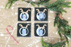 Last Minute Gift Idea: Personalized Christmas Photo Coaster Craft Using Labels