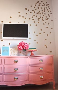 Coral Painted Dresser: How fun are those gold library catalog drawer pulls? (via Infarrantly Creative) via 16 Impressive Dresser Makeovers via Brit + Co Coral Painted Dressers, Painted Furniture, Coral Dresser, Colorful Dresser, Furniture Projects, Furniture Makeover, Diy Furniture, Dresser Makeovers, Coral Paint Colors