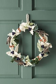 Anthropologie Felted Songbird Wreath