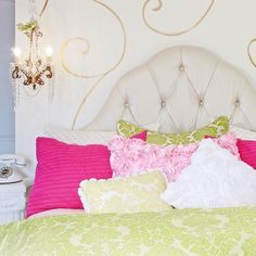 Do you still have a little girl's headboard?  Make it work for you now by dressing your bed with four or five patterns and textures that you love.  Add a little bling with a crystal lamp and a dash of gold paint.  Choose colors that balance, and always add a pop of white to keep the style fresh.  Frankie's Room by Wake Up Frankie.