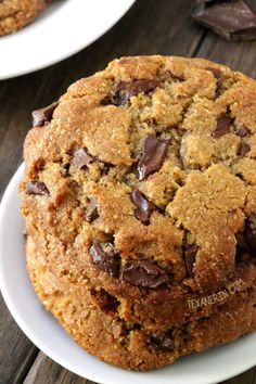 These paleo chocolate chip cookies are thick, chewy and have the perfect texture along with a subtle nuttiness thanks to almond flour and butter!